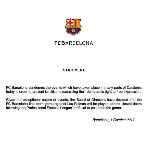 22157023_10155103107384397_1199912537_n Κεκλεισμένων των θυρών το Μπαρτσελόνα-Λας Πάλμας, λόγω της κατάστασης στην Καταλωνία!